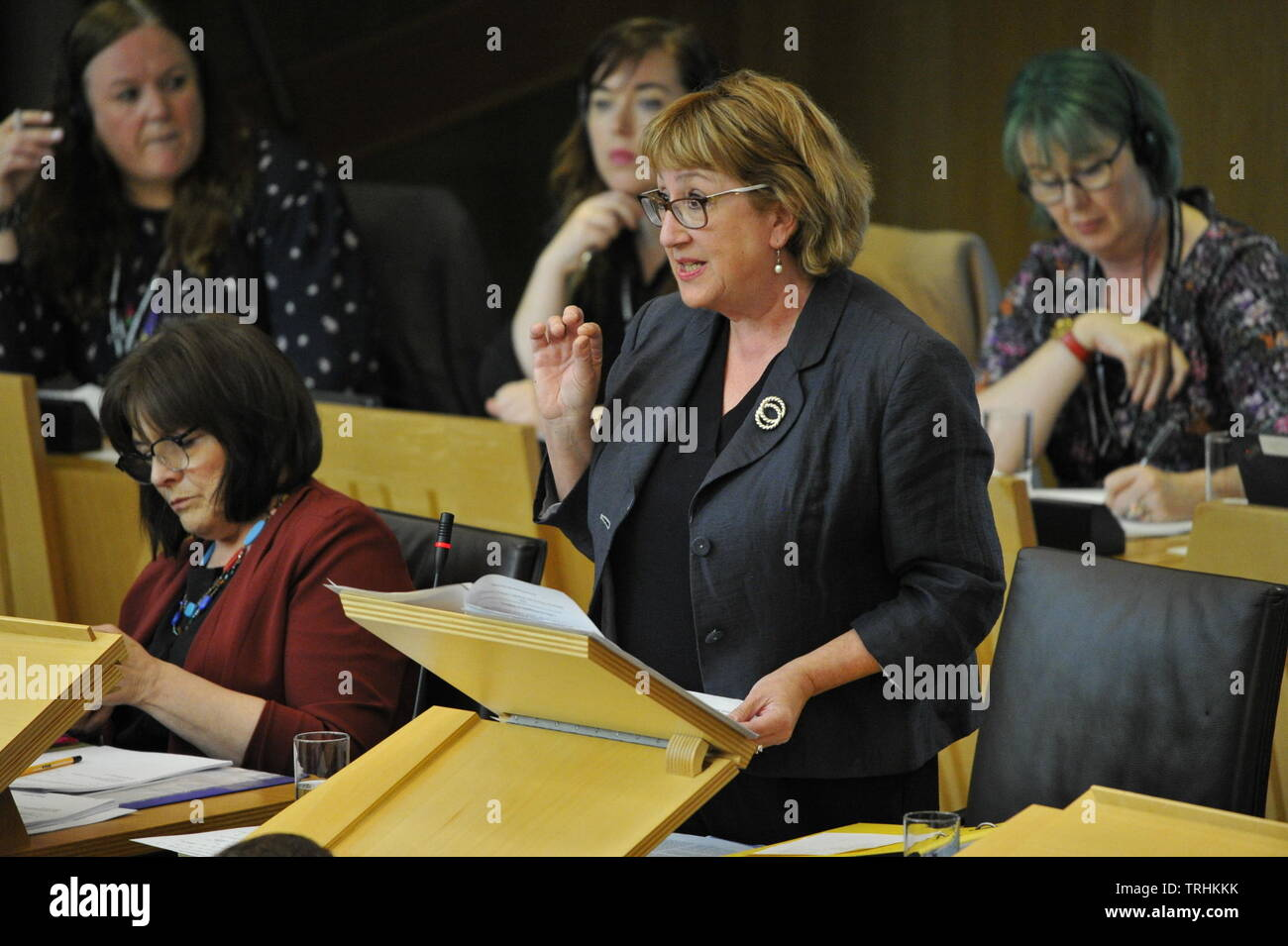 Edinburgh, UK. 6 June 2019. PICTURED: Jeane Freeman (left) and, Annabelle Ewing (right) Afternoon session in the chamber of the Scottish Parliament. Stage 3 Proceedings: Fuel Poverty (Target, Definition and Strategy) Bill. Credit: Colin Fisher/Alamy Live News Stock Photo