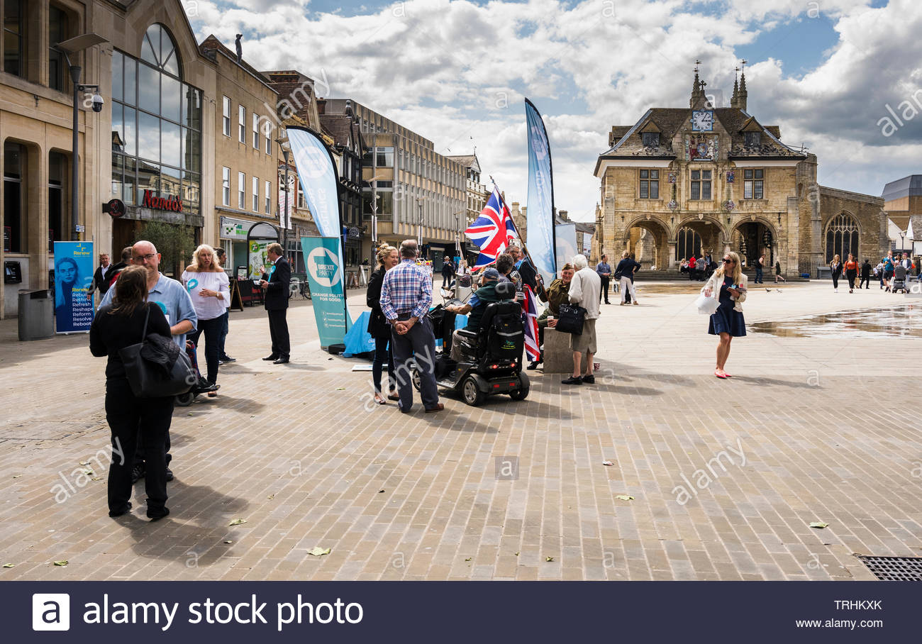 Peterborough, Cambridgeshire, UK, June 6th, 2019. The Brexit Party campaign for the June 2019 Parliamentary by-election in Cathedral Square, Peterborough. Credit: Michael David Murphy / Alamy Live News Stock Photo