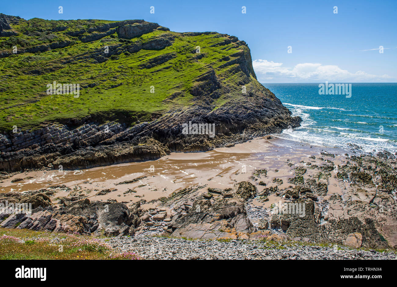 Mewslade Bay on the south Gower coast South Wales, only accessible by footpath - Stock Image