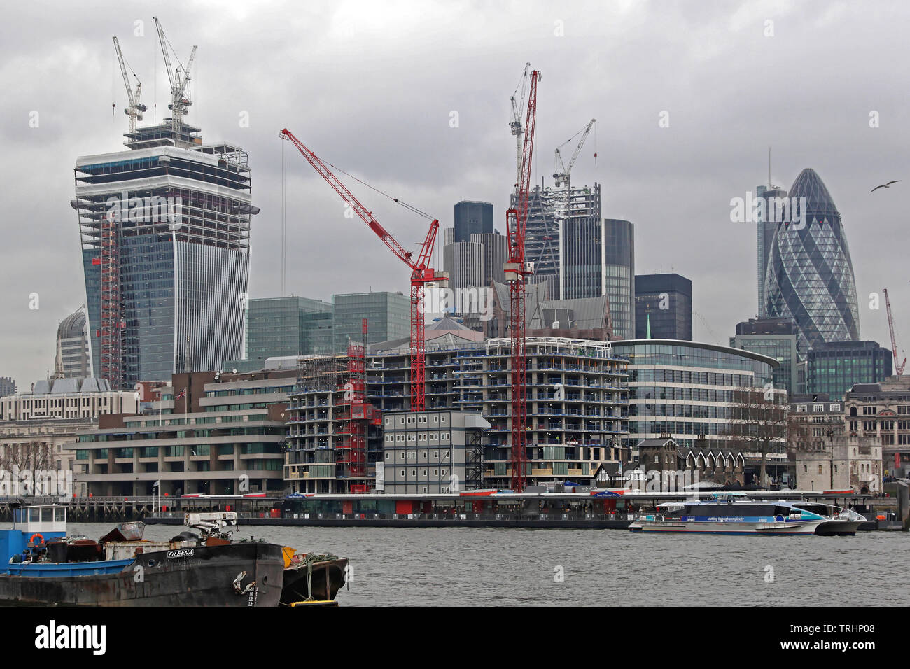 London, United Kingdom - January 25, 2013: Big Skyscraper Buildings Construction Site at City View From River Thames in London, UK. - Stock Image