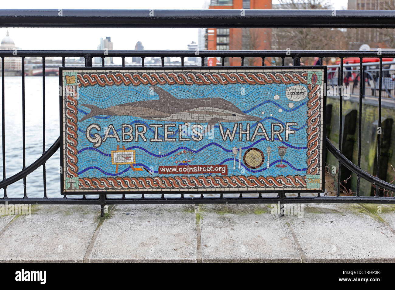 London, United Kingdom - January 26, 2013: Gabriel Wharf Mosaic at Thames River Southwark in London, UK. - Stock Image