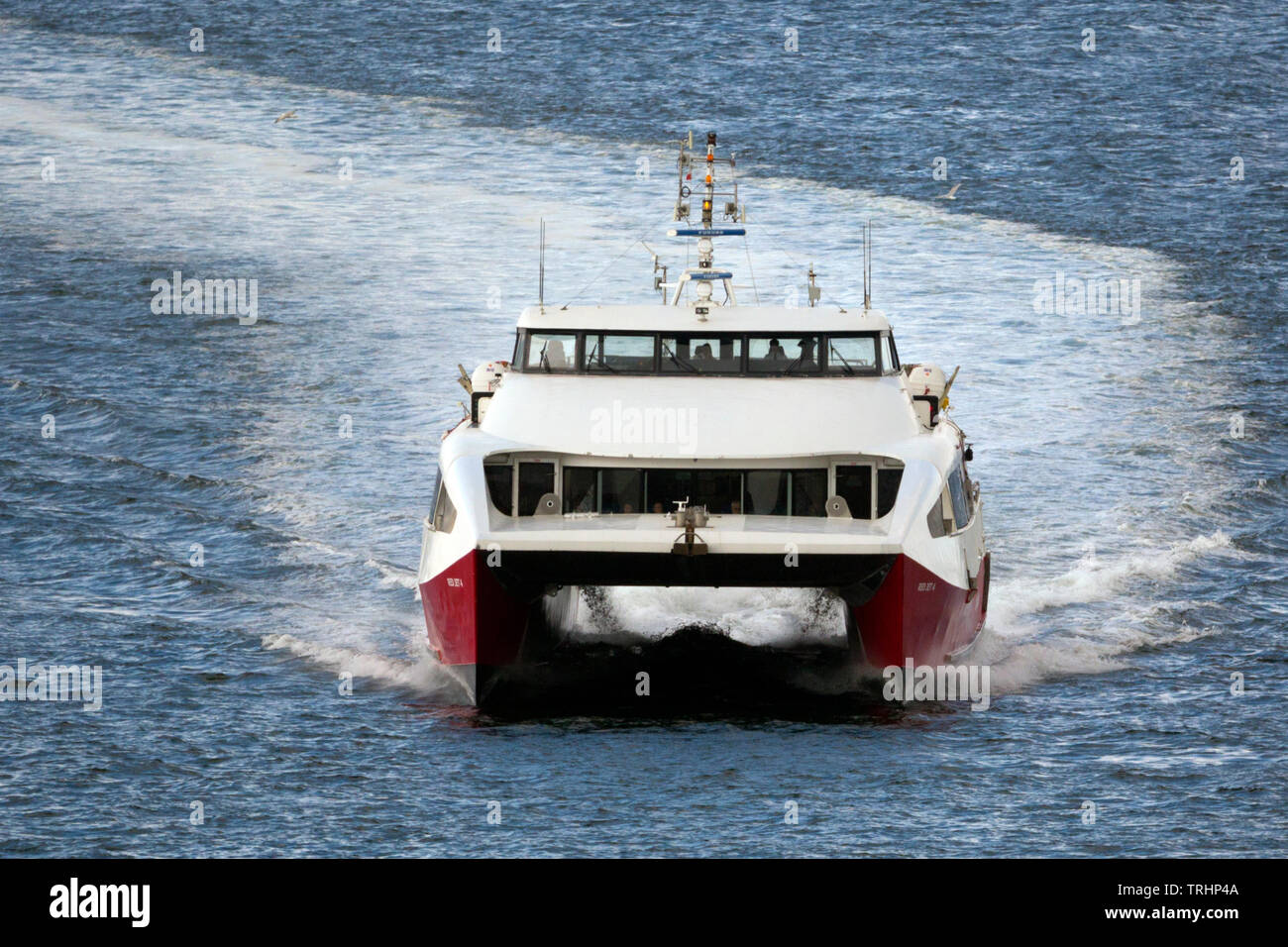 Red Jet, Passenger,Ferry, Funnel, Cowes, isle of Wight, UK, - Stock Image