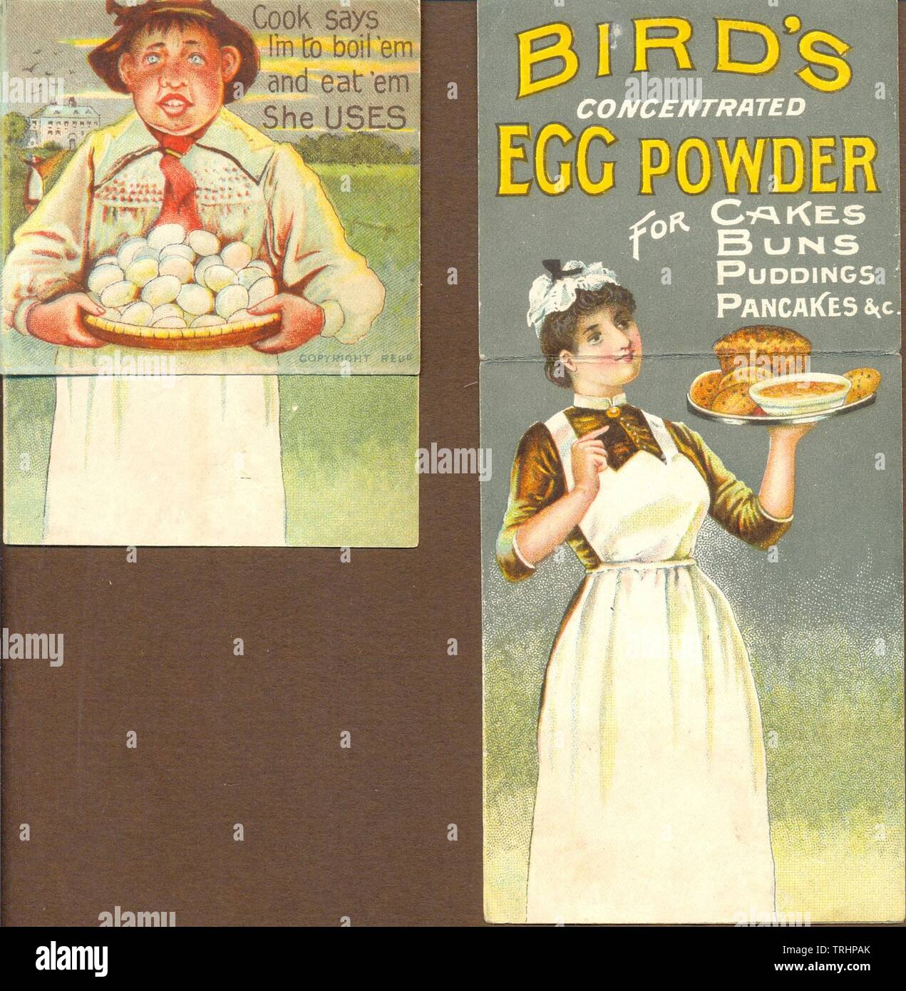 Movable advertisement for Bird's concentrated Egg  Powder circa 1890 Stock Photo