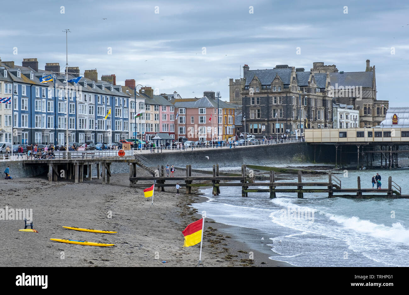 The seafront promenade at Aberystwyth, Wales - Stock Image