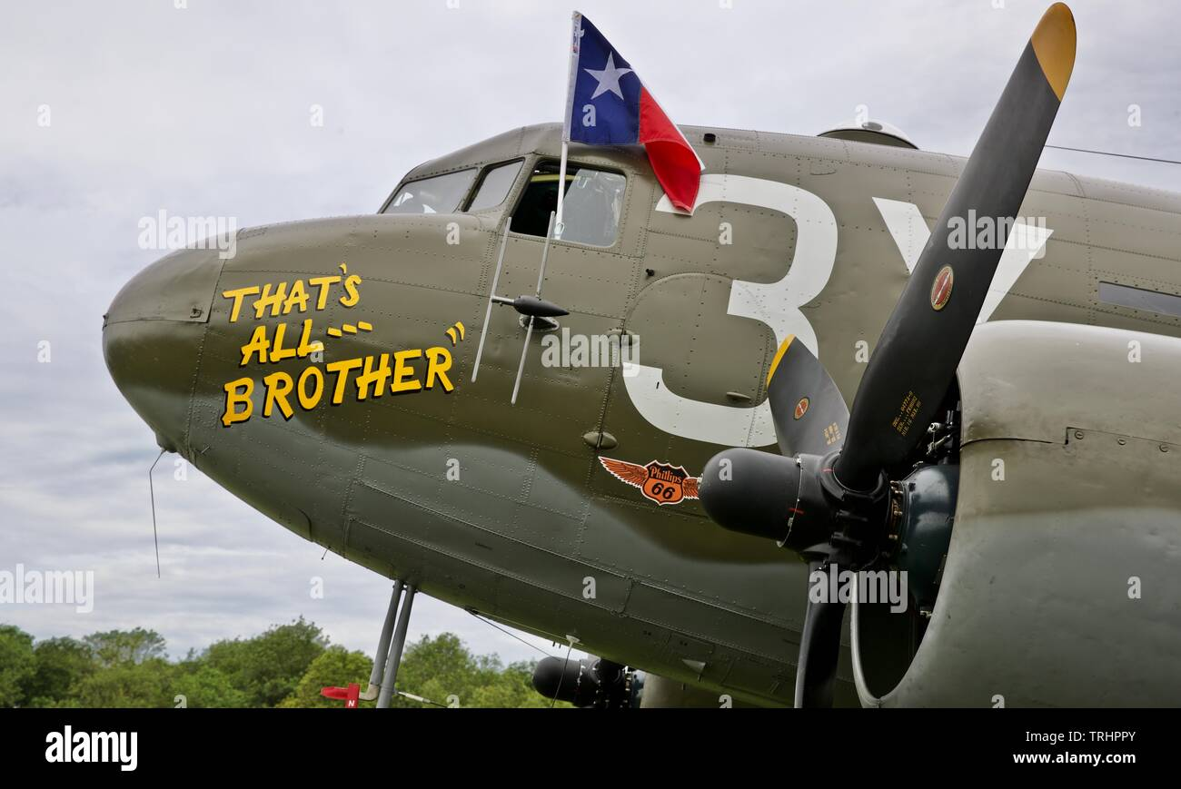 "C-47 ""That's all Brother"" at the 2019 Shuttleworth Air Festival Commemorate the 75th Anniversary of D-Day - Stock Image"