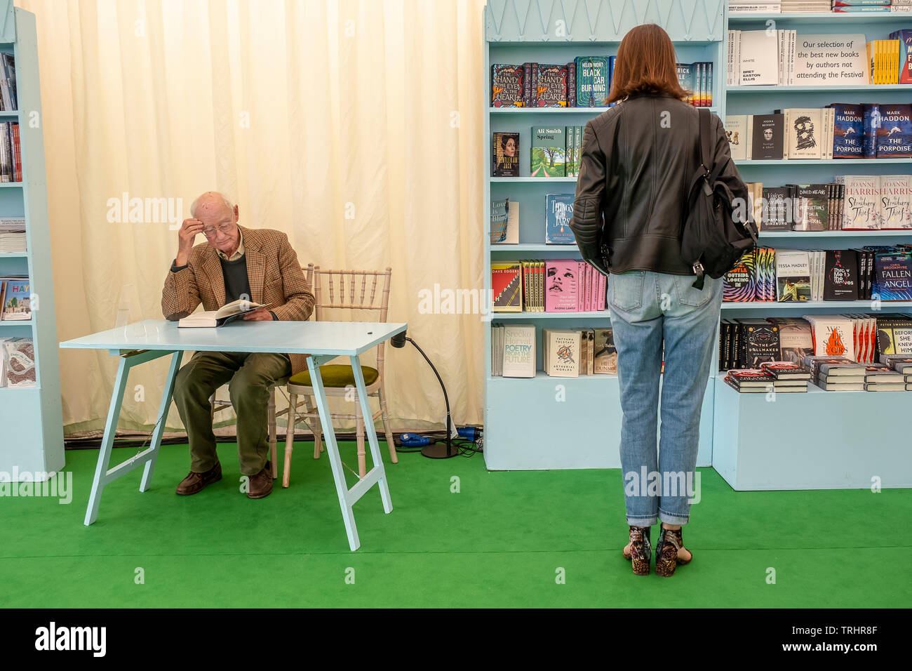 Book store of Hay Festival, Hay on Wye, Wales - Stock Image