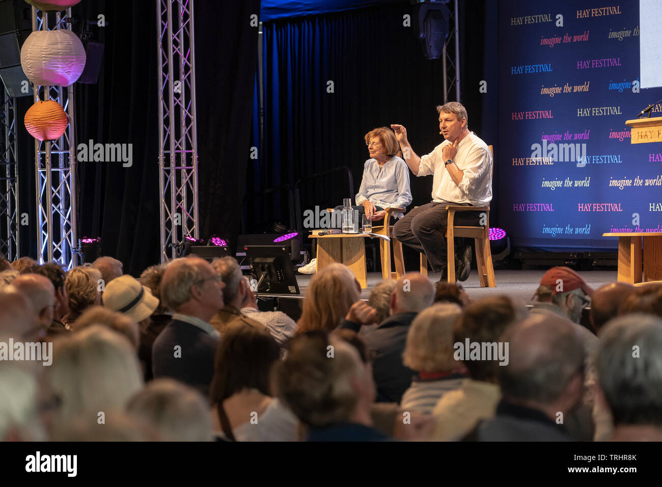Danny Dorling and Sally Tomlinson speaking at the Hay Festival, Hay on Wye, Wales - Stock Image
