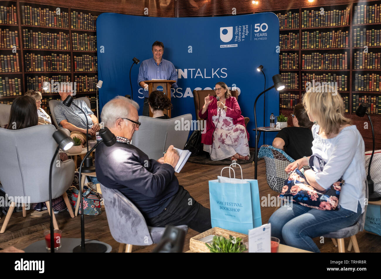 Monica Grady speaking at the Hay Festival, Hay on Wye, Wales - Stock Image