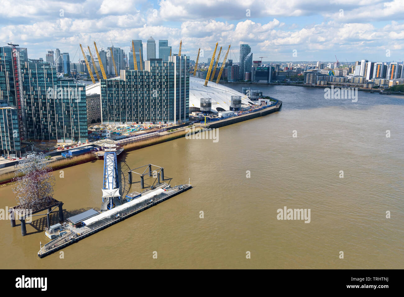 Aerial view of Thames River and Greenwich Peninsula in London, UK - Stock Image