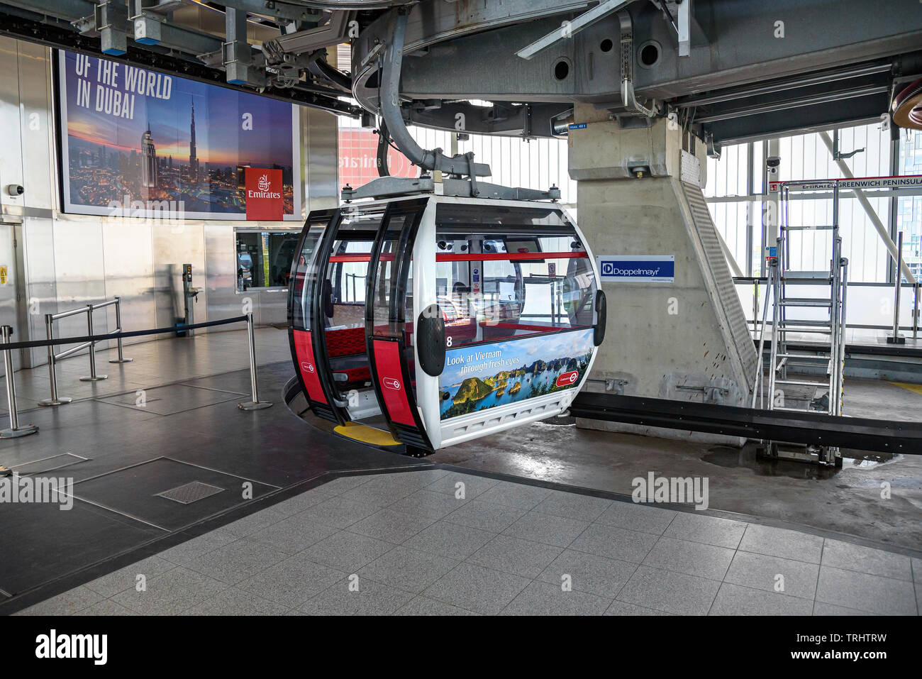 London, UK - May 1, 2018: Gondola of thr Emirates Airline cable car at the station on Greenwich Peninsula - Stock Image