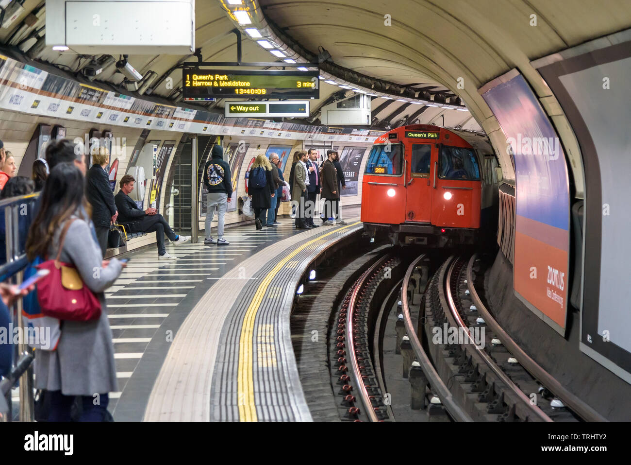 London, UK - May 1, 2018: Train approaching the Waterloo underground station - Stock Image