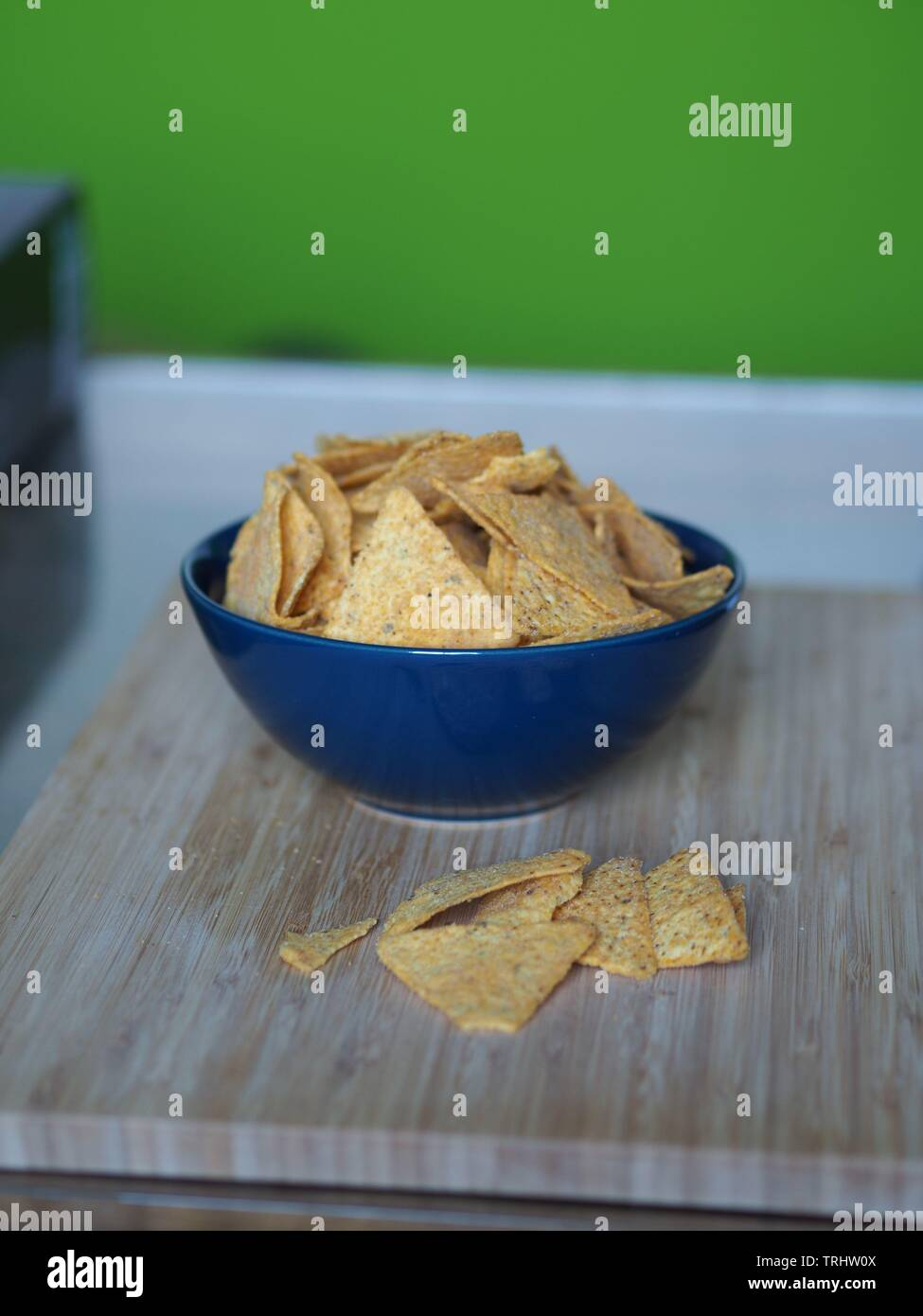 Tortilla chips in a blue bowl tex mex Stock Photo