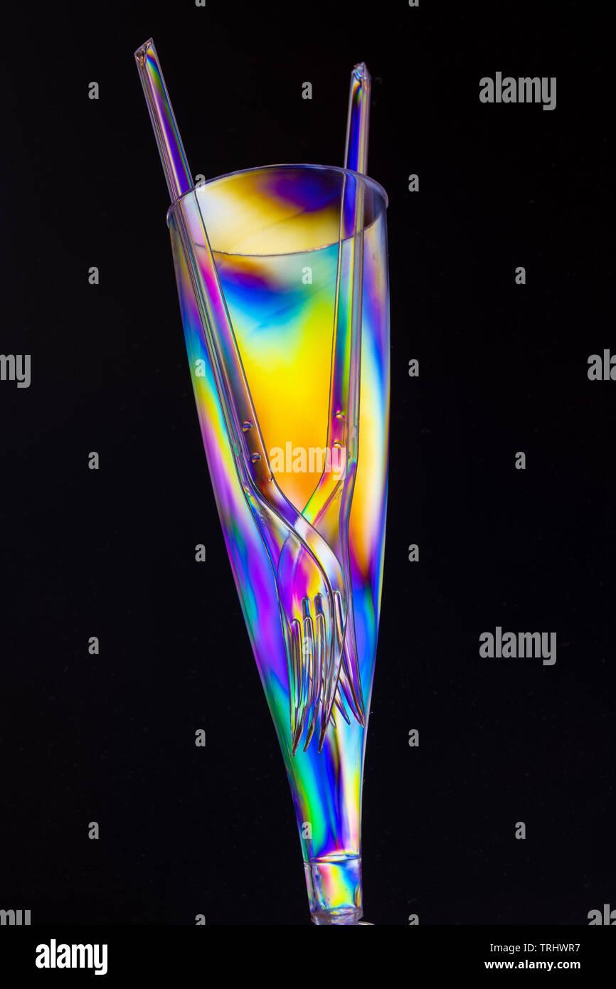Plastic champagne flute - Stock Image