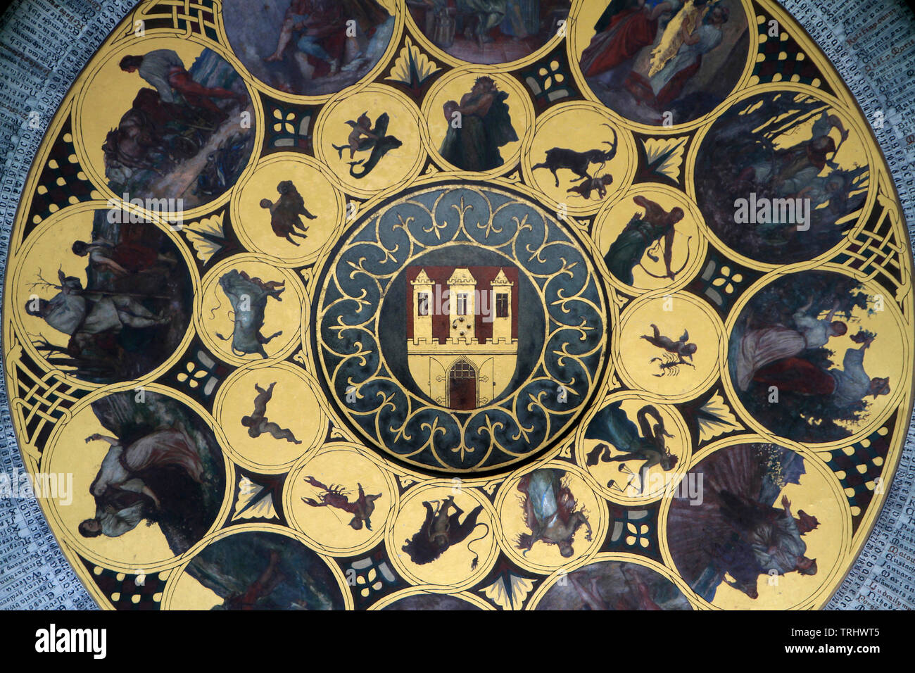 Le Calendrier du peintre Joseph Manes. La Tour de l'Horloge. Prague. Czech Republic. - Stock Image