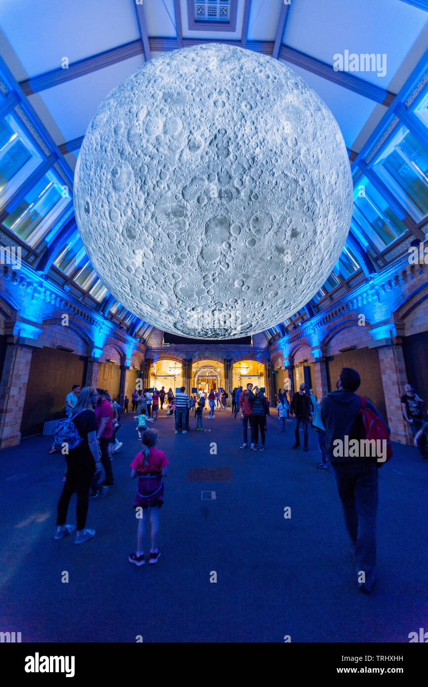 Museum of the Moon is an accurate scale model of the Moon by Luke Jerram using NASA imagery, Natural History Museum, London, England, United Kingdom. - Stock Image