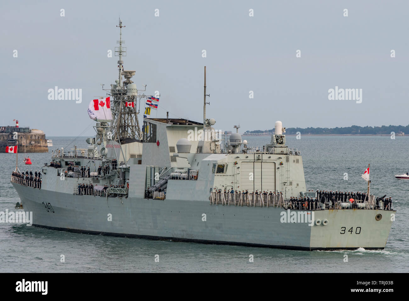 The Royal Canadian Navy warship HMCS St John's leaves