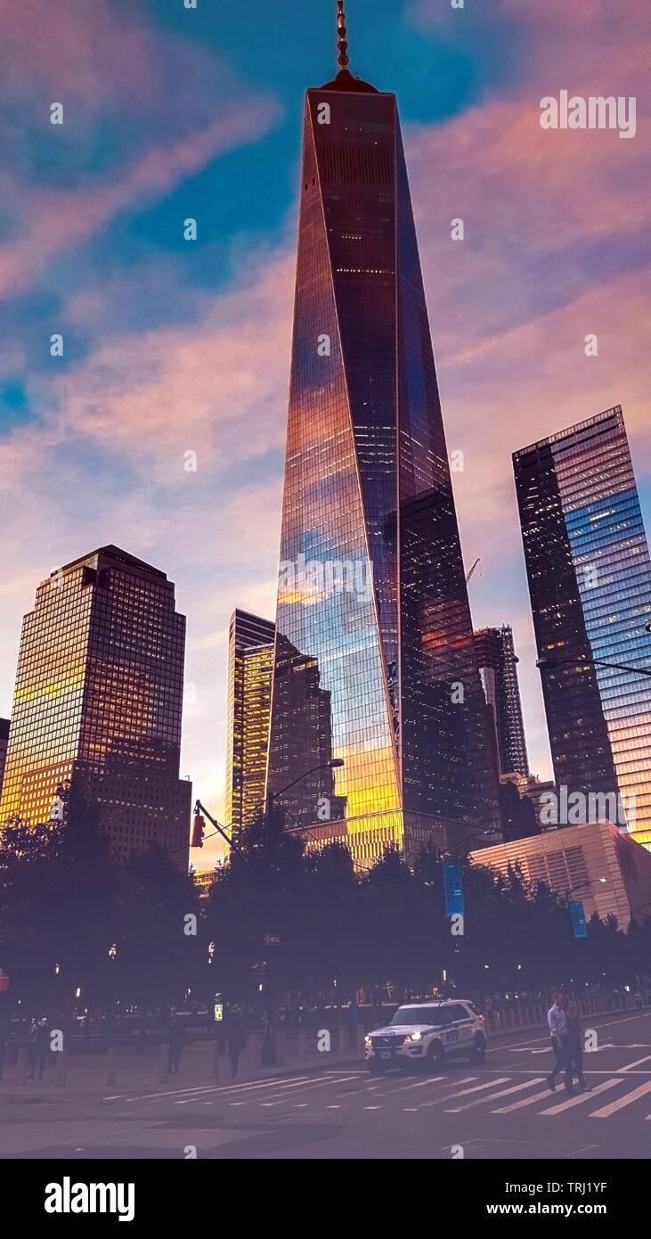 Stunning Skyscraper evening night life Stock Photo