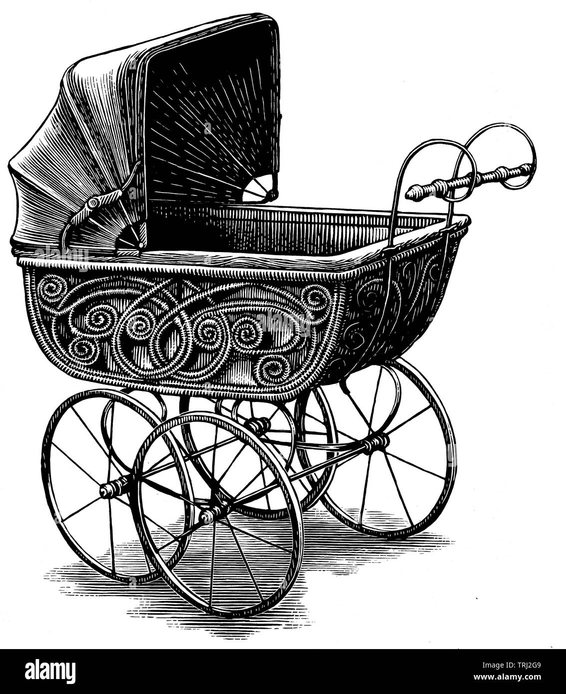 Old fashioned baby stroller - Stock Image