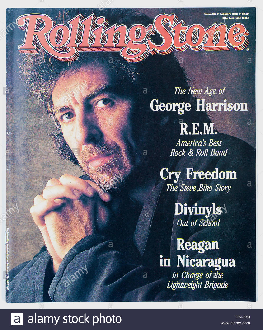 The cover of Rolling Stone magazine, issue 415, February 1988,  featuring George Harrison - Stock Image