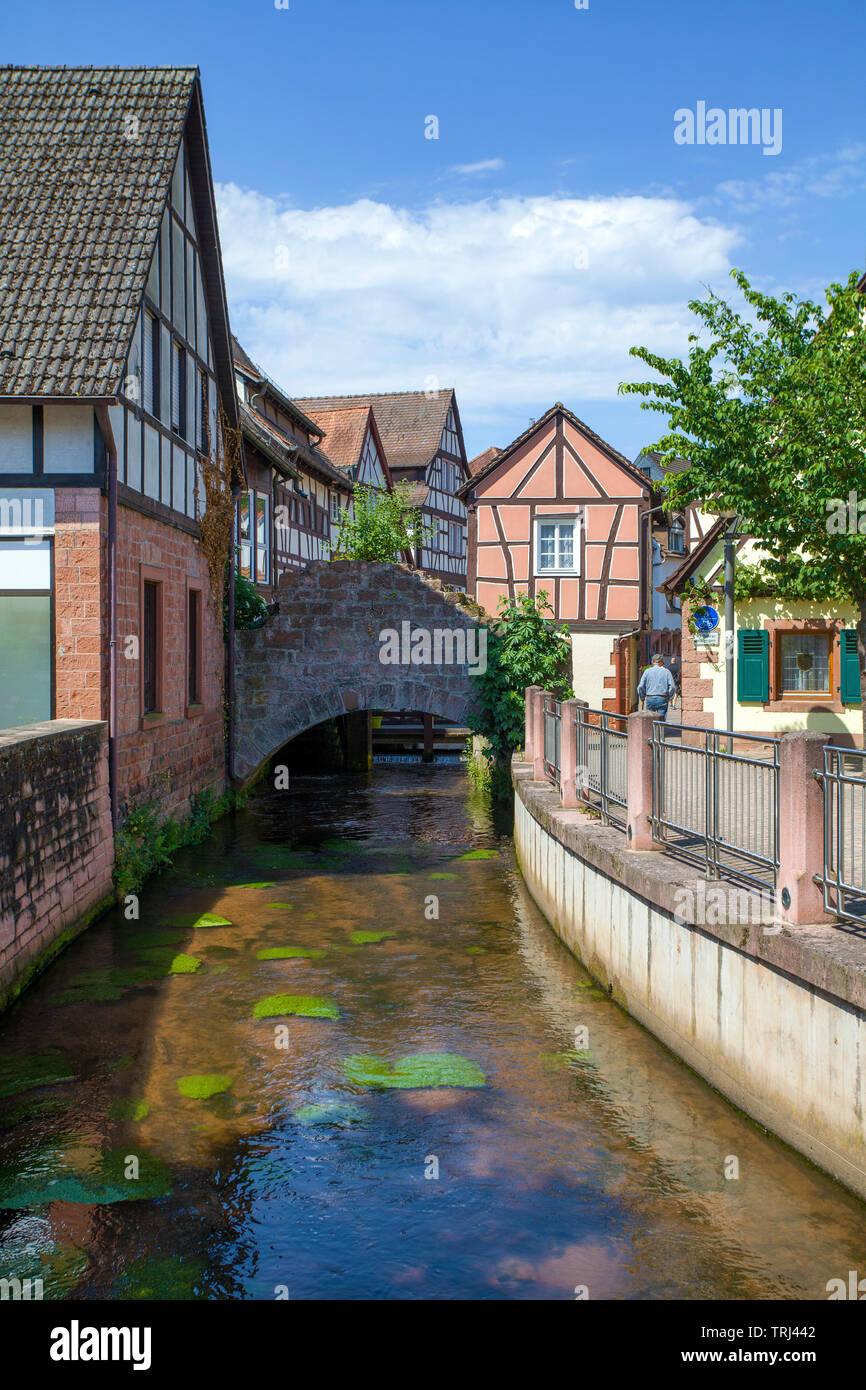 The Queich stream at old town, Annweiler am Trifels, Rhineland-Palatinate, Germany - Stock Image
