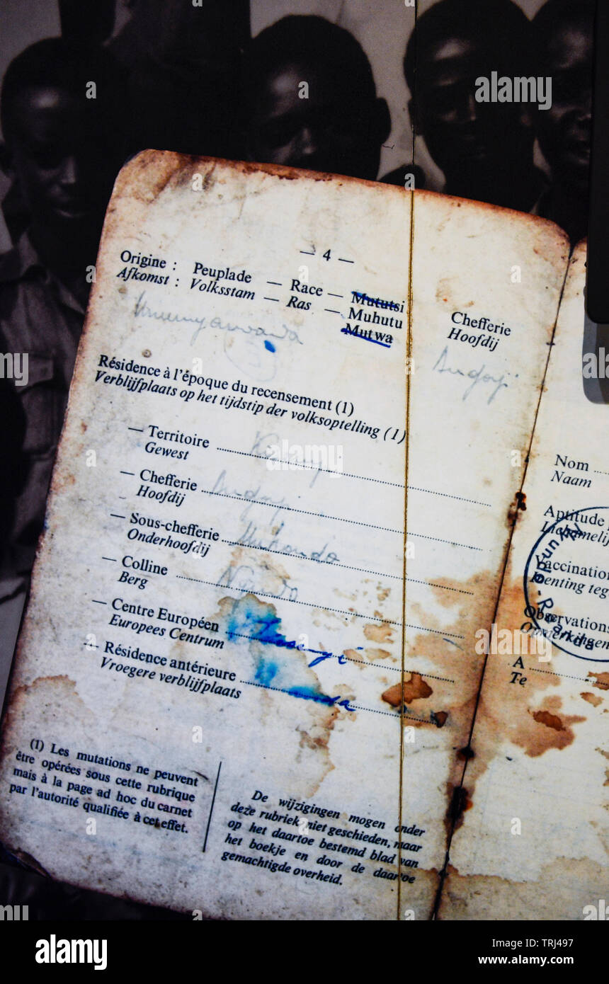 RWANDA, Kigali, Kigali Genocide Memorial , a museum and memorial to remember the genocide of 1994 where about 1 million Tutsi were murdered by Hutu, image of passport from Belgian colonial time with a marking of the race Mu Hutu Mu Tutsi and Mu Twa Stock Photo