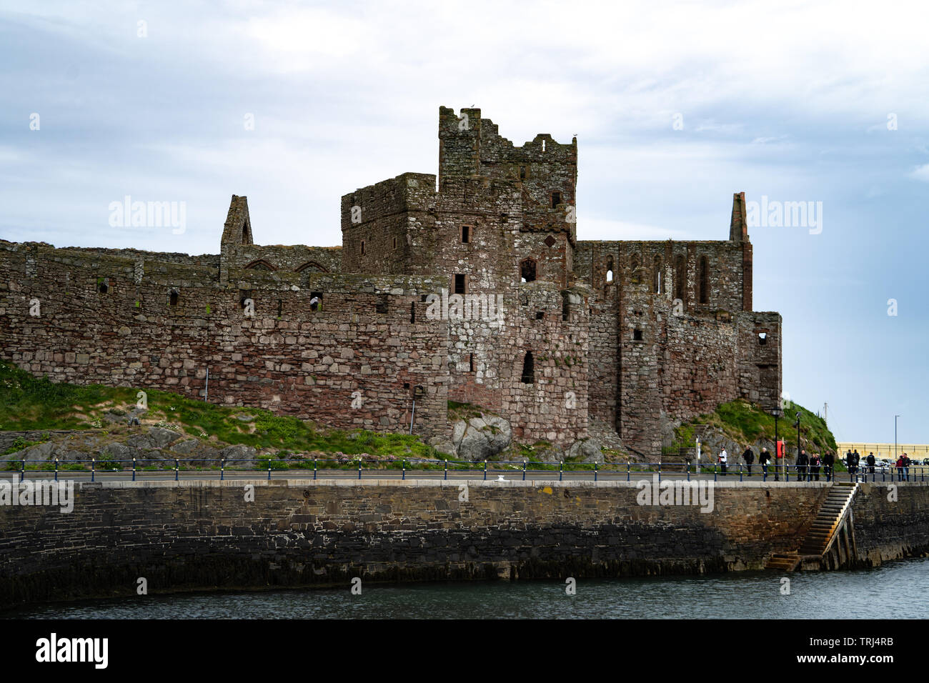 Cathedral and curtain wall, Peel Castle, Isle of Man, UK - Stock Image