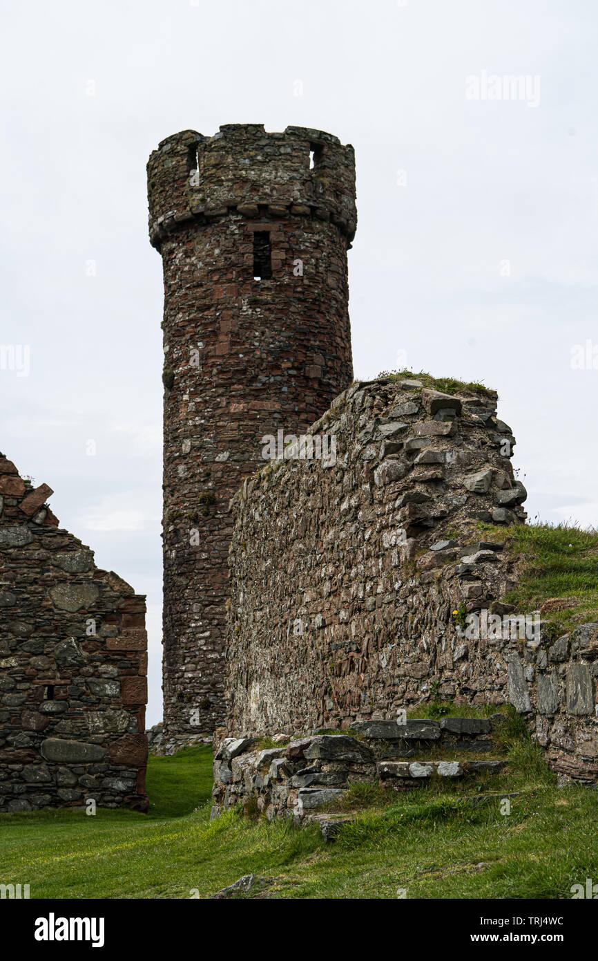 Round tower and monastry, Peel Castle, Isle of Man, UK - Stock Image