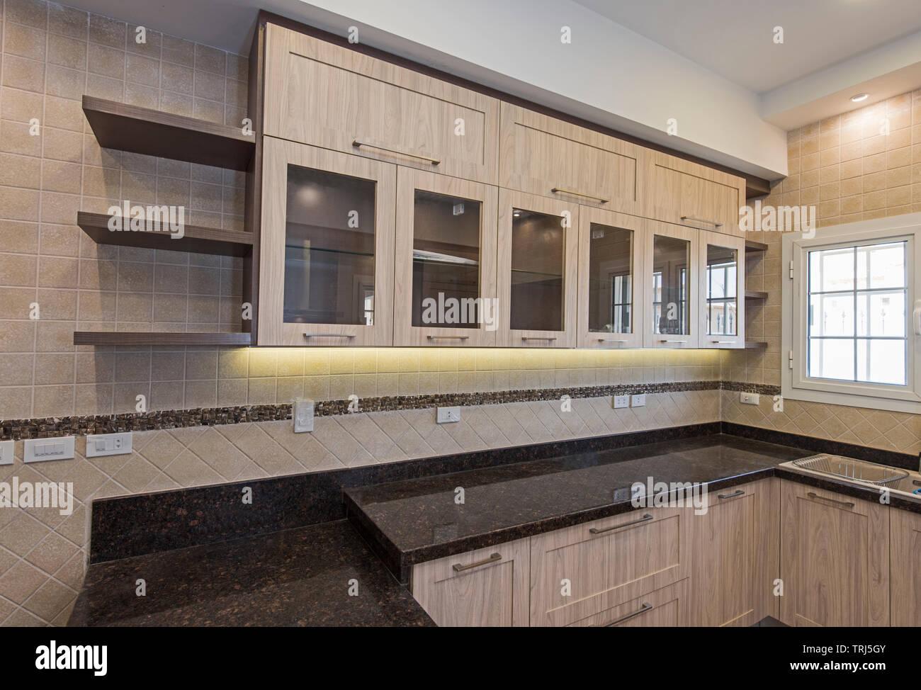 Interior design decor showing modern kitchen with cupboards ...