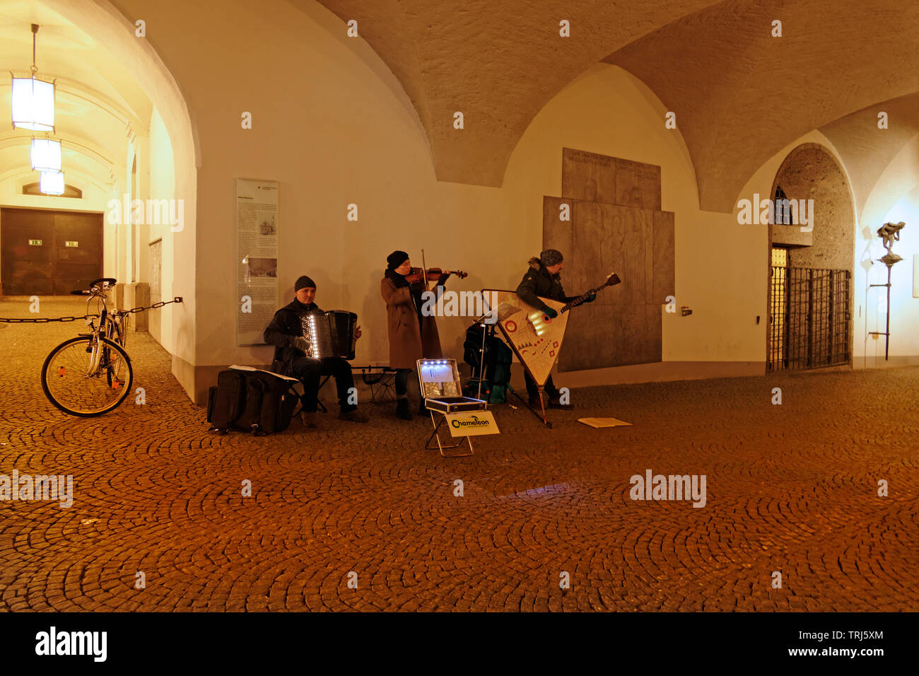 Russian musical group busking , Munich, Upper Bavaria, Germany, Europe - Stock Image