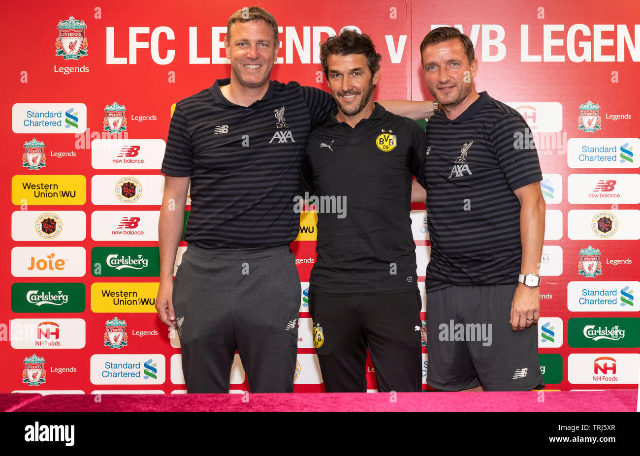 Press conference ahead of the Liverpool FC Legends match against Borussia Dortmund Legends at the Hong Kong Stadium,  Vladimir Smicer (R) and Stephane - Stock Image