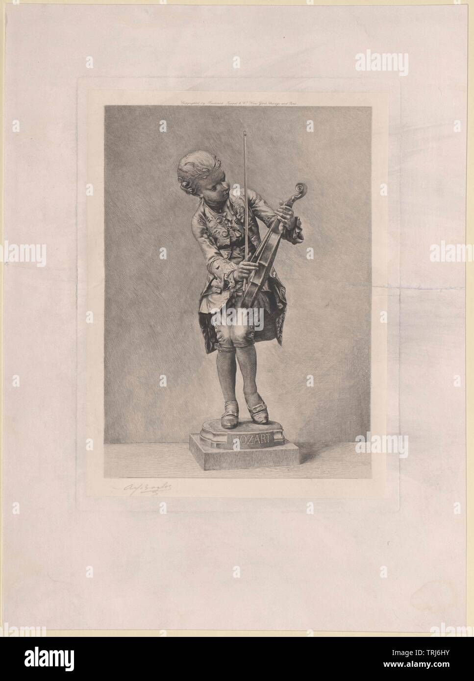 Mozart, Wolfgang Amadeus, full-length, the violin tune up. statuette of Ernest Barrias, portrayed in an etching by Alfred Boilot. handwritten signed, Anmerkung: original (1887) in the muse du Luxembourg, Additional-Rights-Clearance-Info-Not-Available - Stock Image
