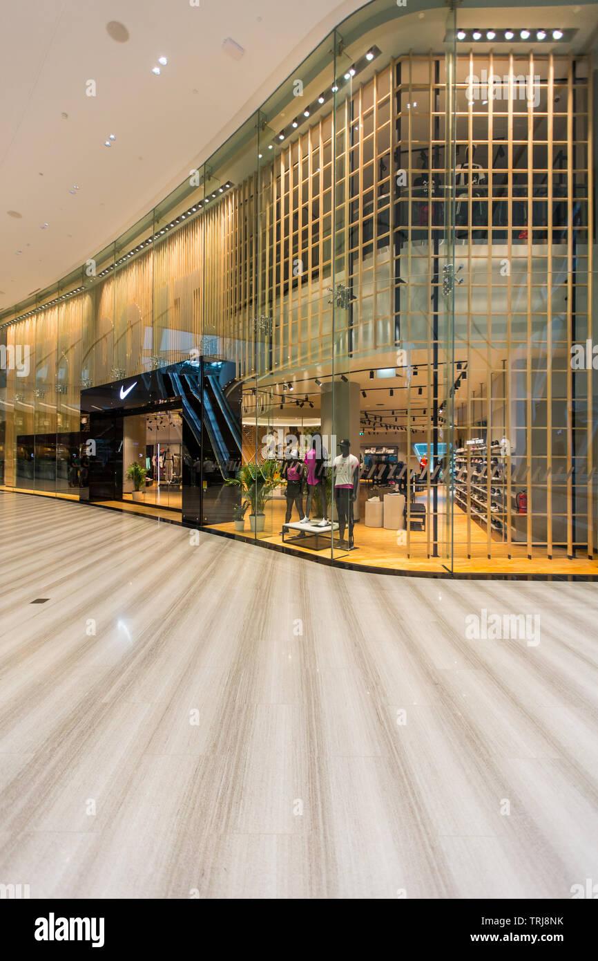 Duplex view of Nike retail at Jewel Changi Airport - Stock Image