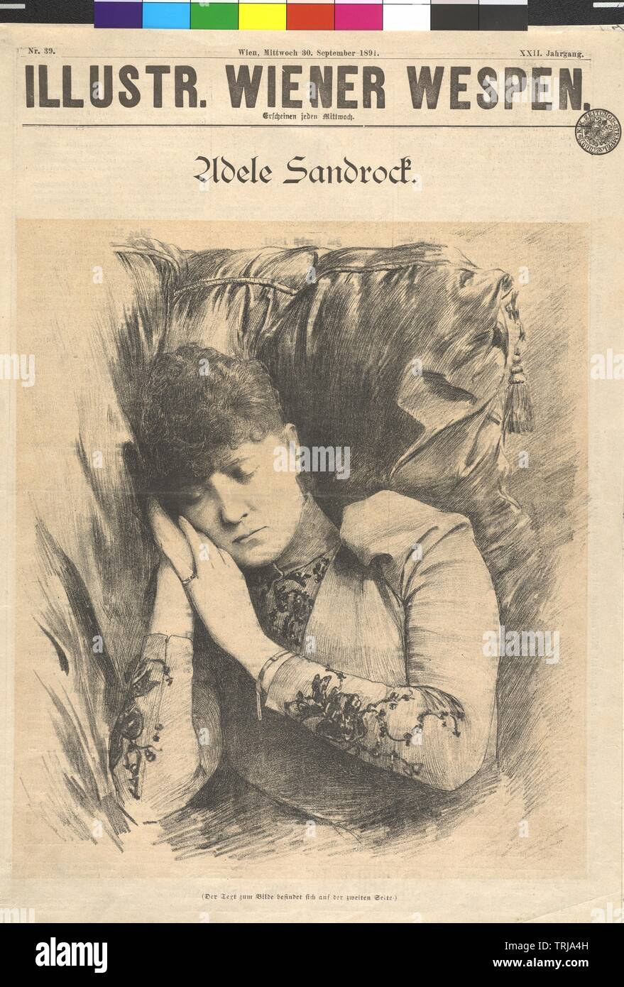 Sandrock, Adele, lithographic print, 'Illustrierte Wiener Wespen', 30.9.1891, Additional-Rights-Clearance-Info-Not-Available - Stock Image