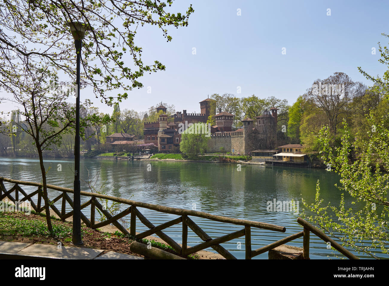 TURIN, ITALY - MARCH 31, 2019: Borgo medievale, medieval village and castle with Po river in a sunny day, clear blue sky in Piedmont, Turin, Italy. Stock Photo