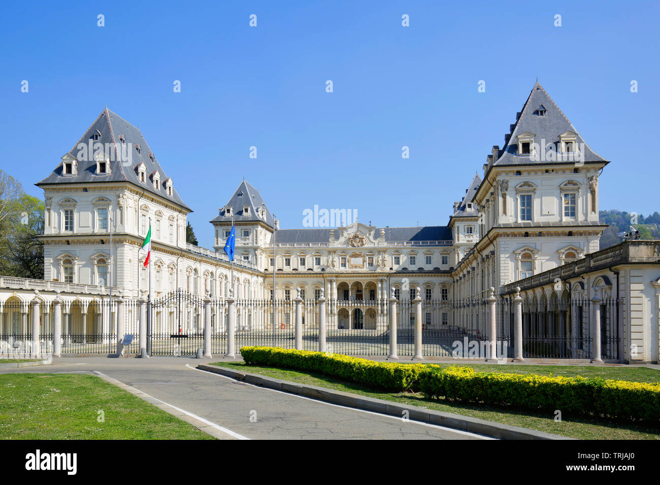 TURIN, ITALY - MARCH 31, 2019: Valentino castle in a sunny day, clear blue sky in Piedmont, Turin, Italy. Stock Photo