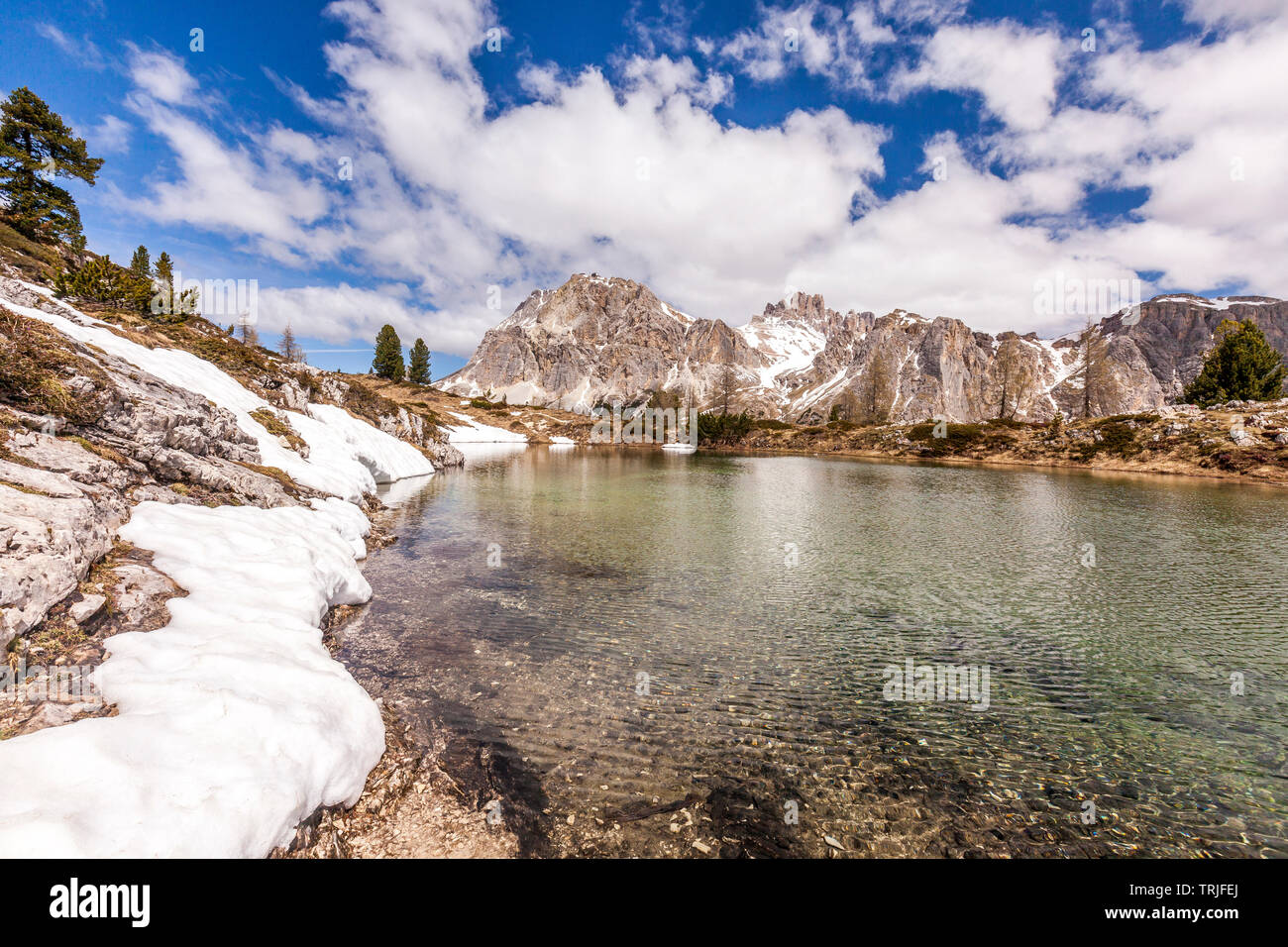 Lagazuoi and Tofane group mirrored in Limides Lake, Dolomites, Cortina d'Ampezzo, Belluno province, Veneto, Italy - Stock Image