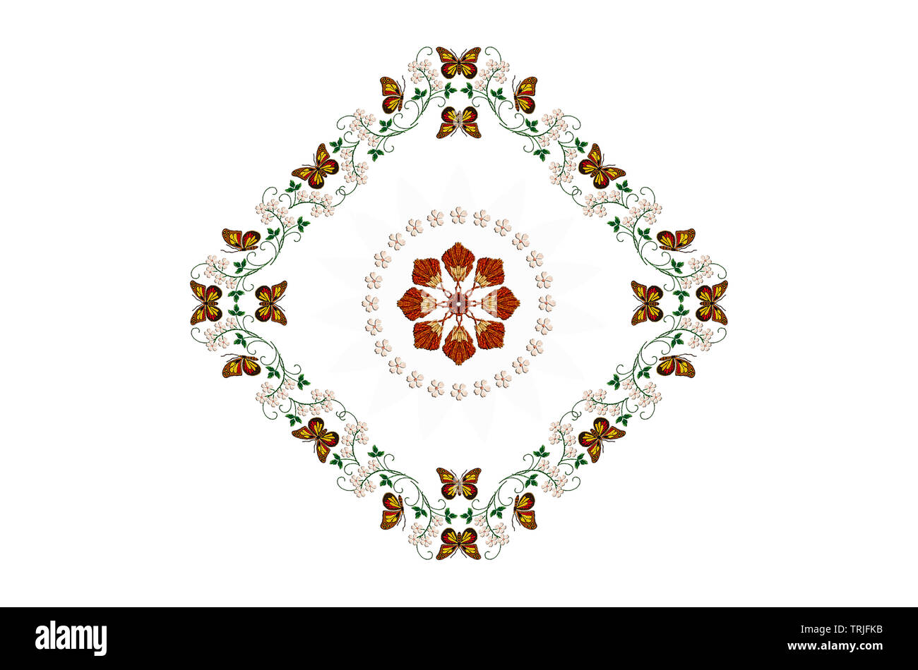 Diamond-shaped frame with embroidered butterflies on stems with leaves and white flowers,and with a circle of white flowers on a white background - Stock Image