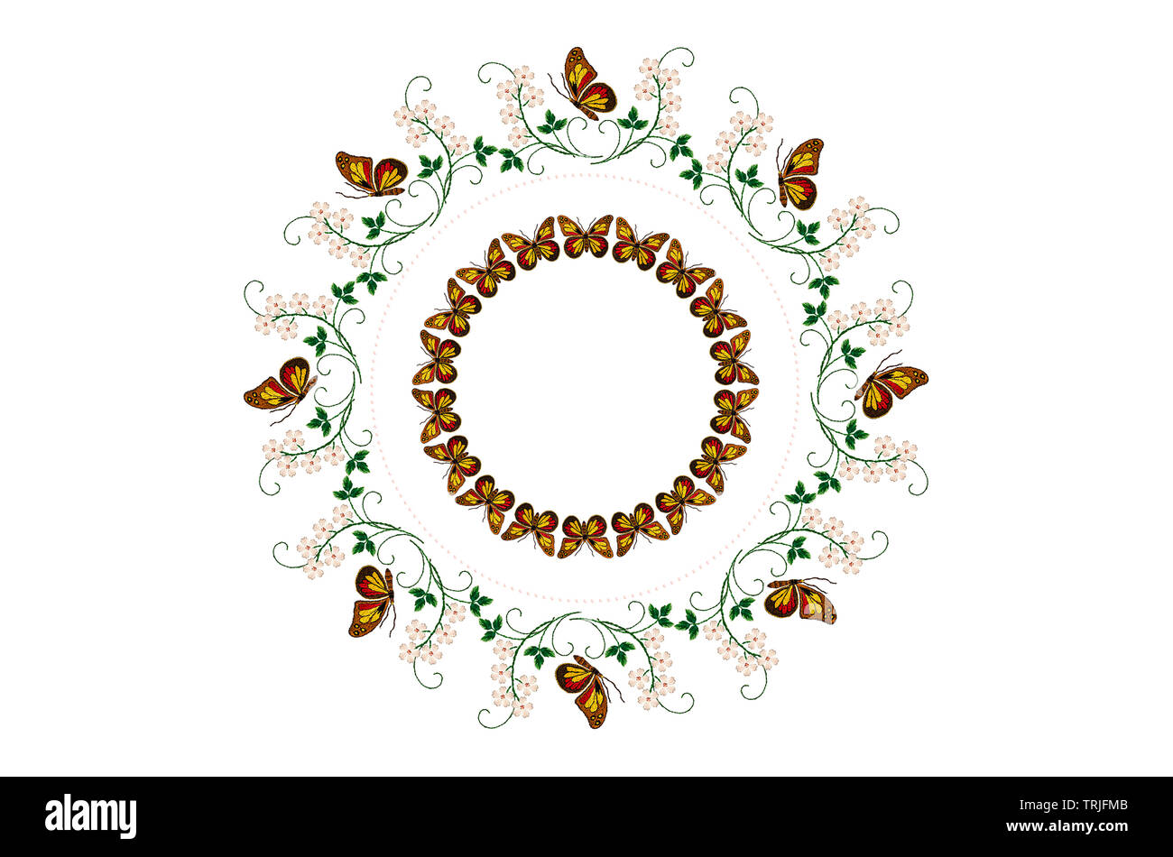 Wreath of embroidered  butterflies on the stems with leaves and white flowers in  mid of a round frame of beads and wreath of butterflies on white bac - Stock Image