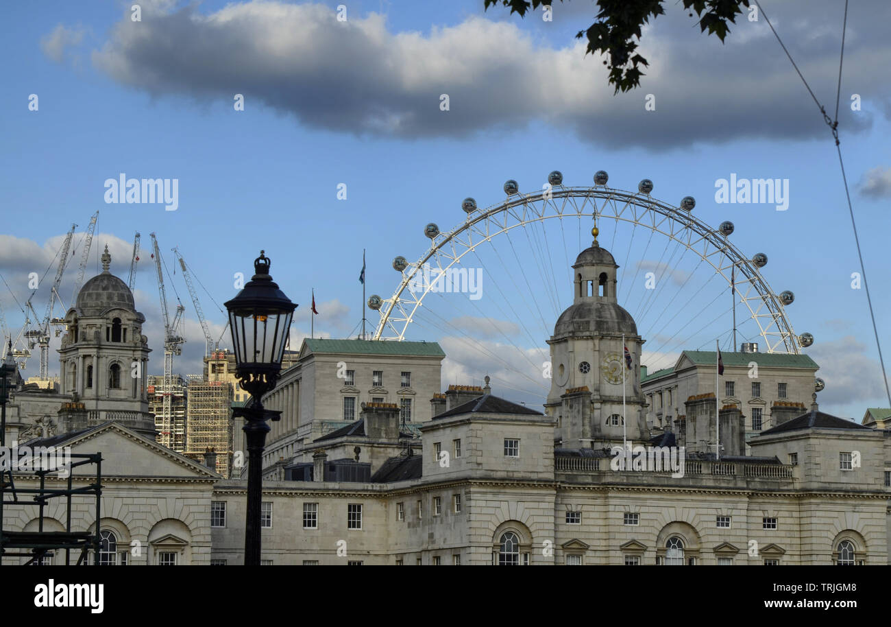London, United Kingdom, 14 June 2018. The London Eye at sunset, one of the most famous symbols for tourists. Here in a less obvious shot, taken from H - Stock Image