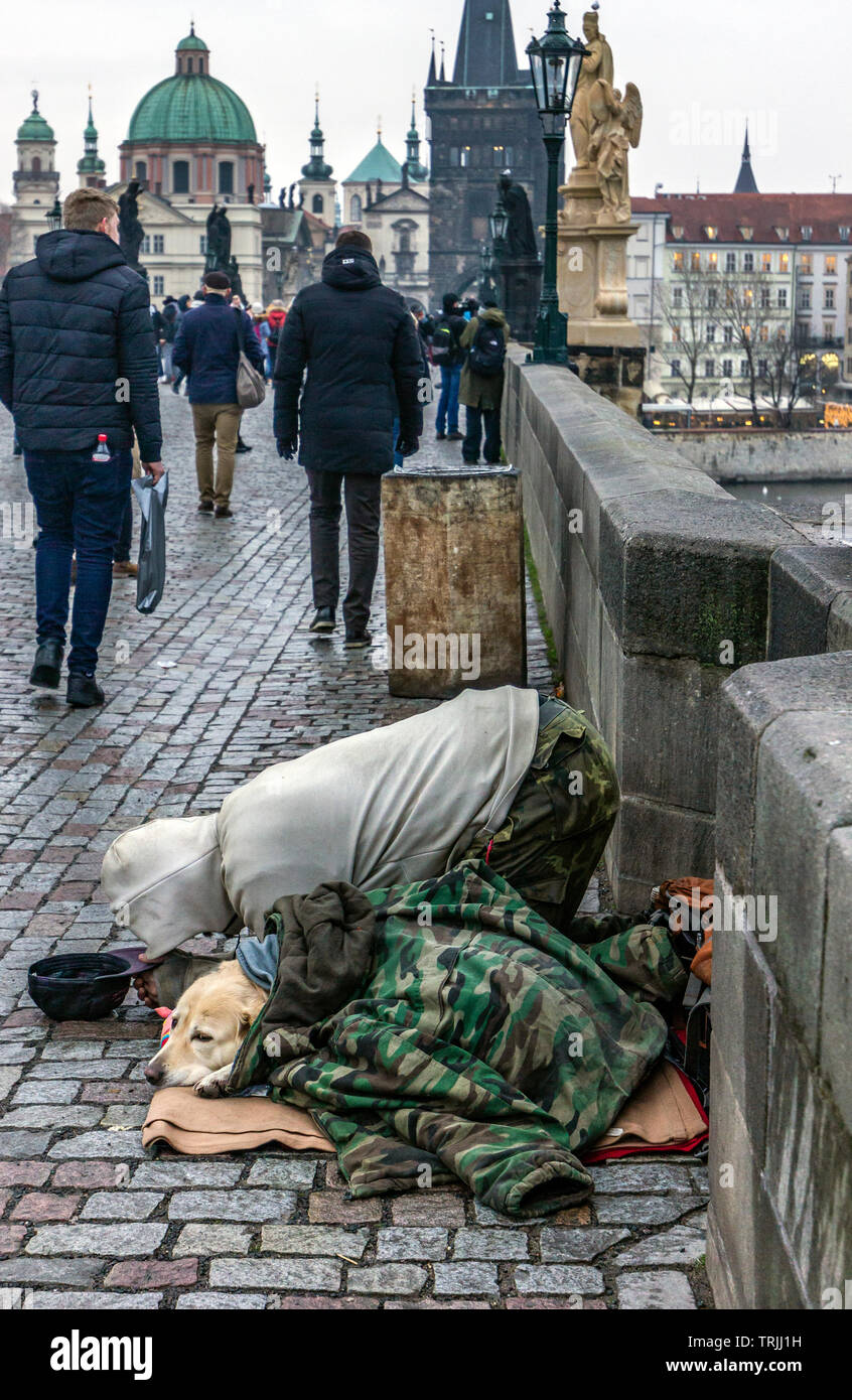 Homeless on the streets of Prague Stock Photo