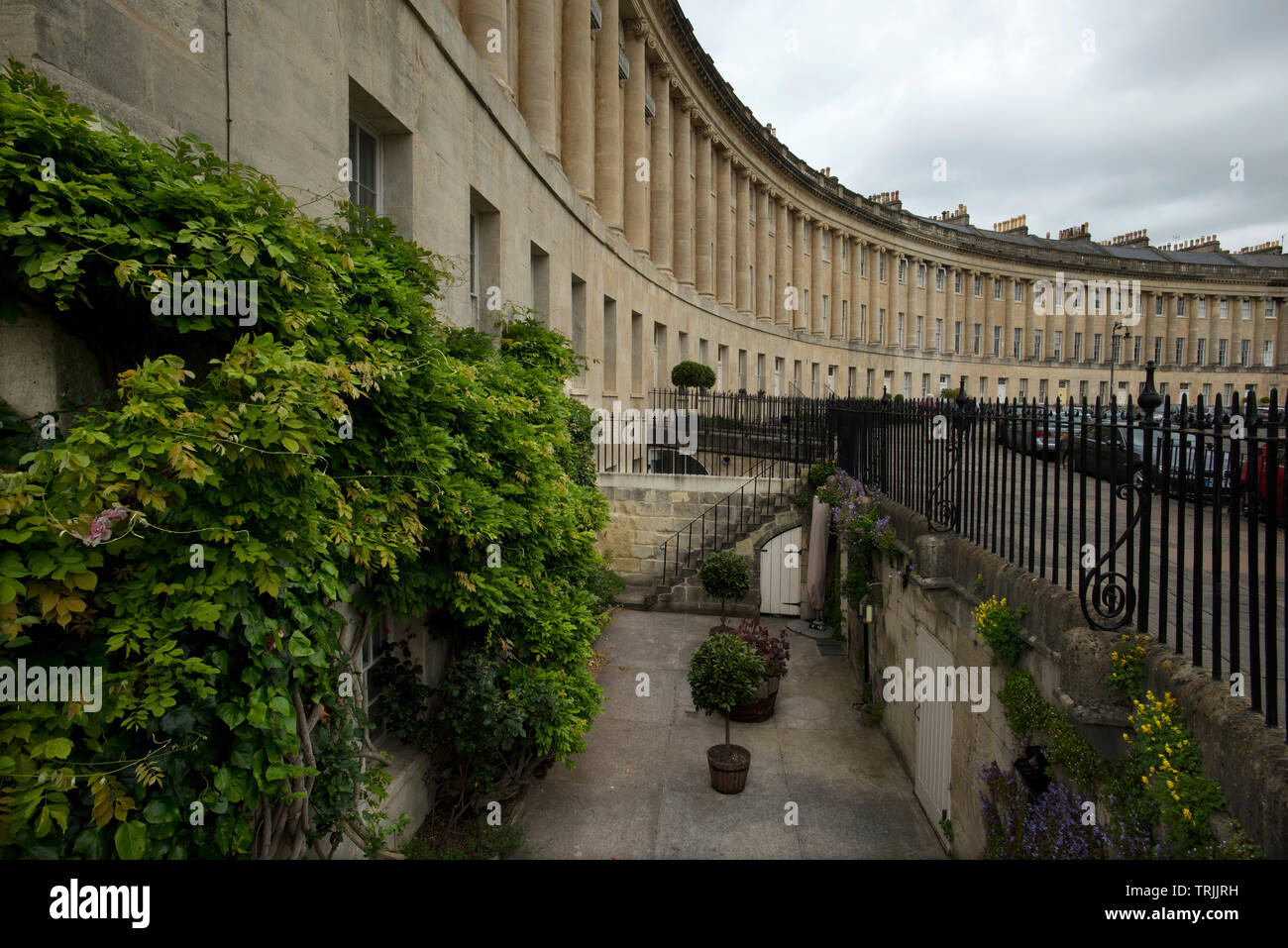 Bath Somerset England UK. June 2019 The Royal Crescent. The Royal Crescent is a row of 30 terraced houses laid out in a sweeping crescent in the city Stock Photo