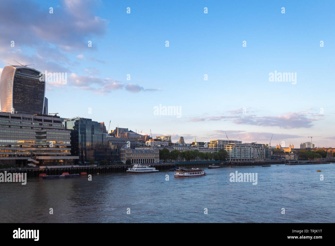 City of London from Southbank of the Thames - Stock Image