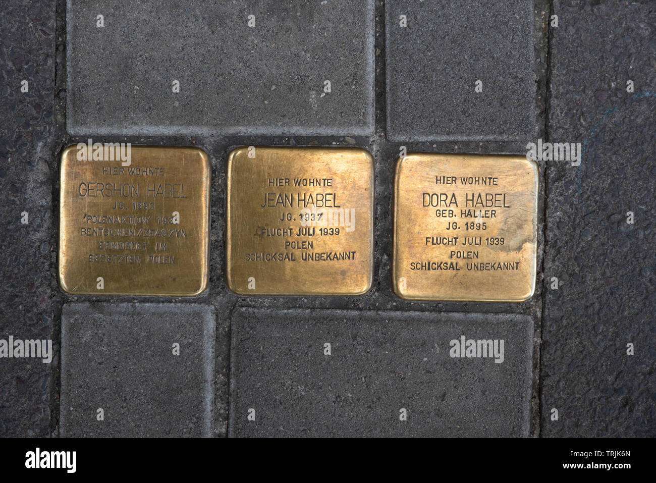 'Stumbling stones' is a project by the German artist Gunter Demnig in 1992. They commemorate individuals at the last place where they lived. - Stock Image