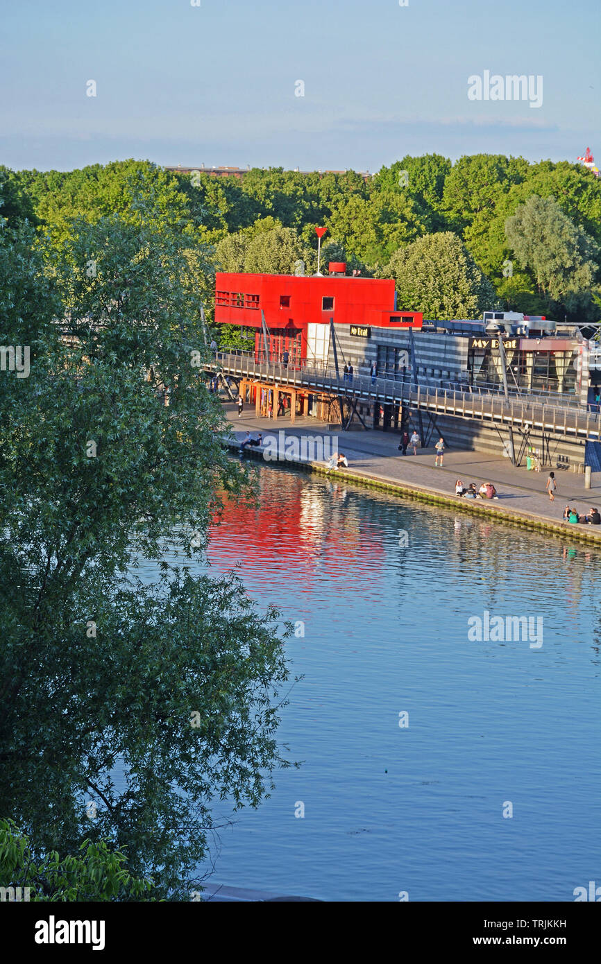 The Parc de la Villette, the third-largest park in Paris, and Ourcq canal, Paris, Ile-de-France, France - Stock Image