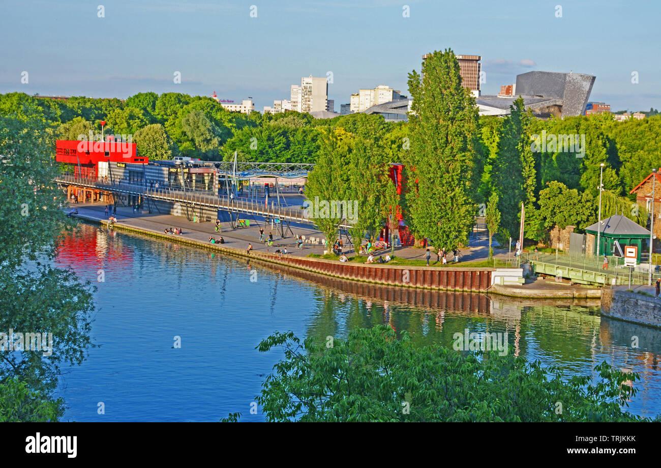 The Parc de la Villette,the third-largest park in Paris, and Ourcq canal, Paris, Ile-de-France, France - Stock Image