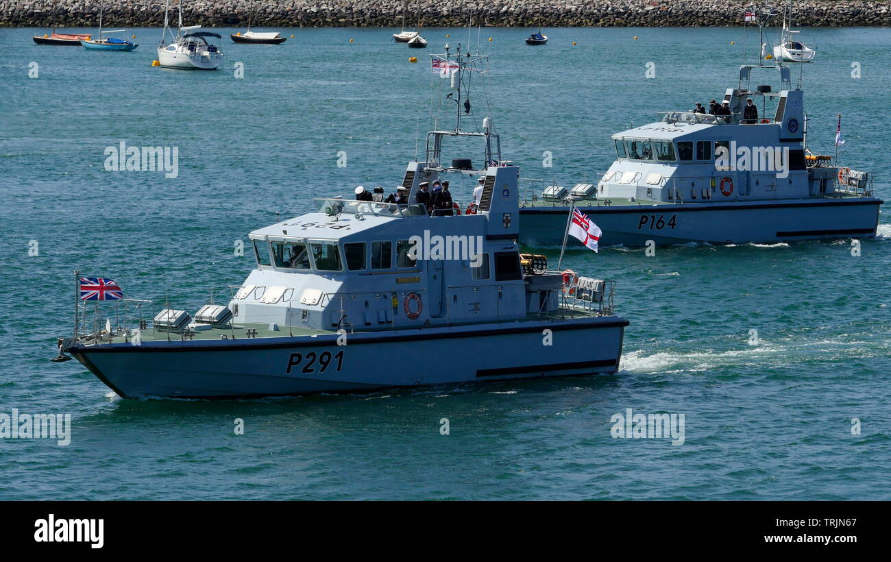 AJAXNETPHOTO. 3RD JUNE, 2019. PORTSMOUTH, ENGLAND. - LEAD ESCORT  - ARCHER CLASS PATROL BOATS (L-R) HMS PUNCHER (P291) AND HMS EXPLORER (P164) WERE TWO OF FOUR OF THE CLASS ACTING AS LEAD ESCORT FOR THE EX COASTAL FORCES AND DUNKIRK LITTLE SHIPS FLOTILLA HEADING FOR NORMANDY IN FRANCE FOR THE 75TH D-DAY ANNIVERSARY COMMEMORATIONS. 