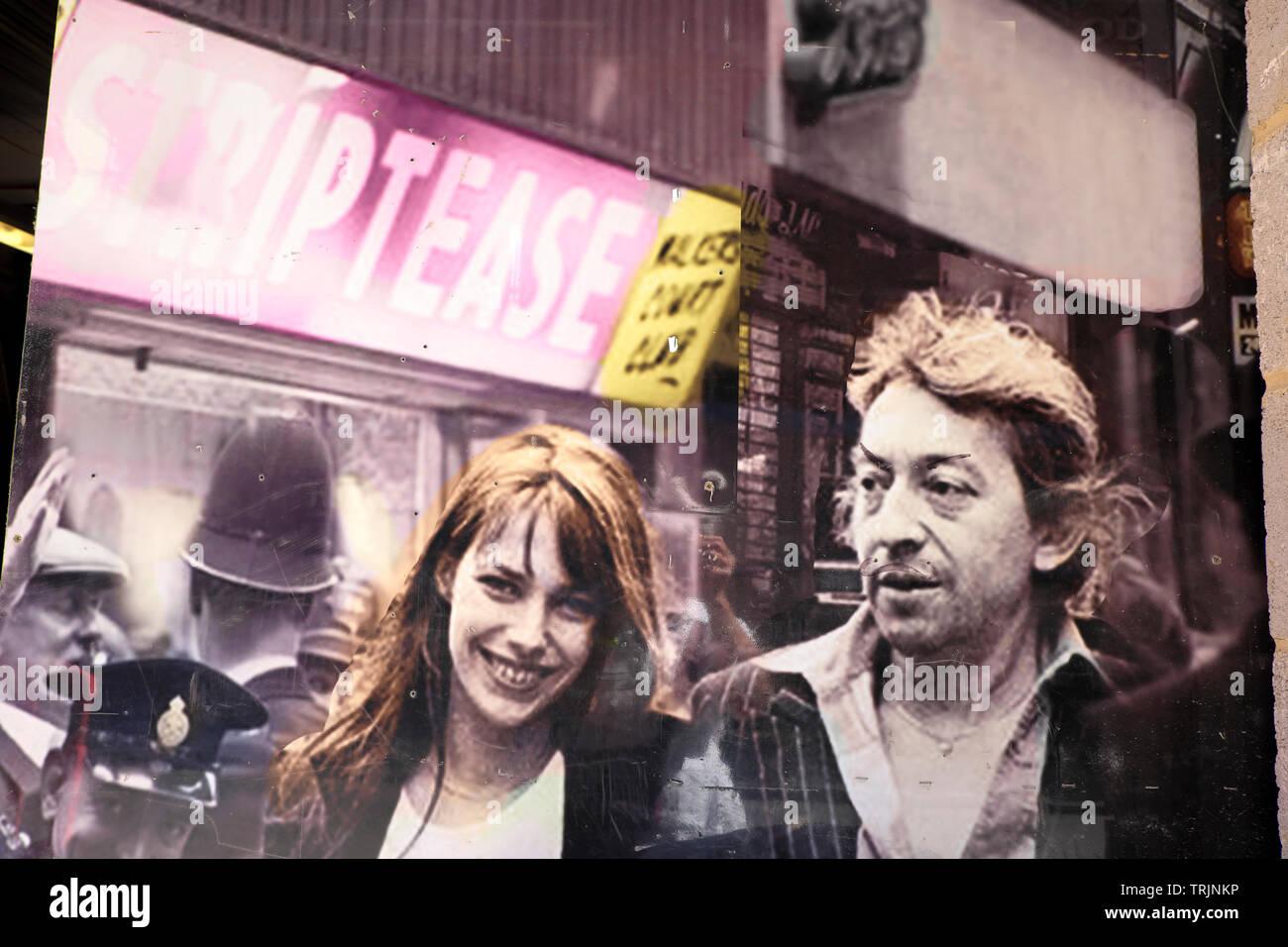 Serge Gainsbourg & Jane Birkin 1970s vintage poster collage on wall of derelict building site being demolished Soho London England UK  KATHY DEWITT - Stock Image