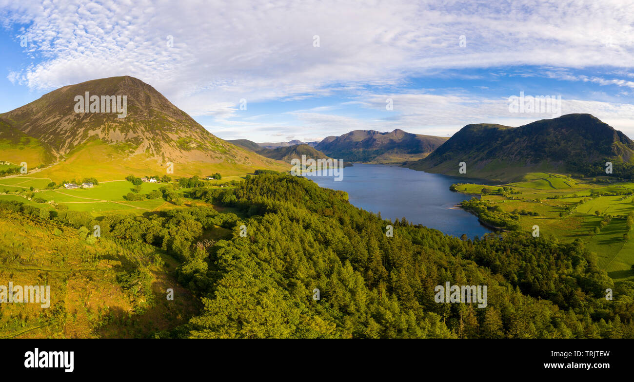 Drone picture of Crummock water from Brackenthwaite Hows. Drone Photo by a UK CAA approved Commercial SUA Pilot. - Stock Image