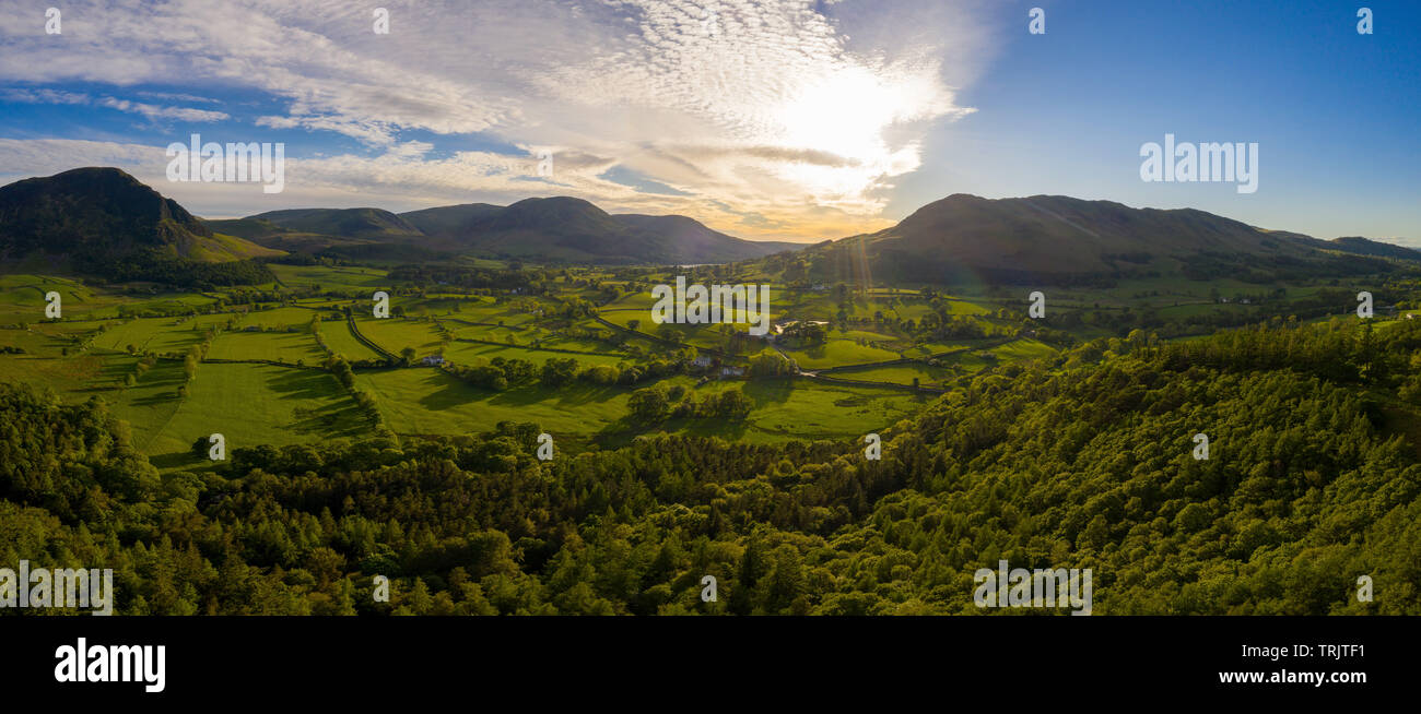 Drone picture of Loweswater from Brackenthwaite Hows. Drone Photo by a UK CAA approved Commercial SUA Pilot. - Stock Image