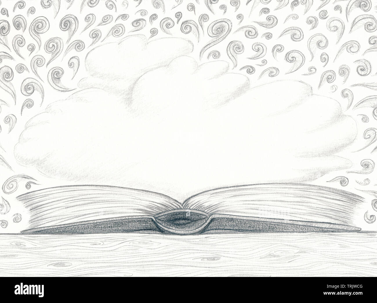 Pencil sketch book clouds curls white by jziprian stock